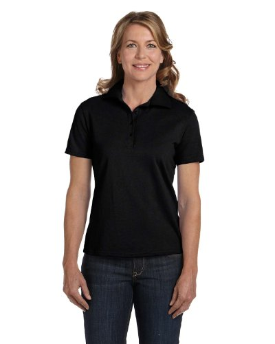 Hanes Women's 7 oz Hanes STEDMAN Cotton Pique Polo, 2XL-Black