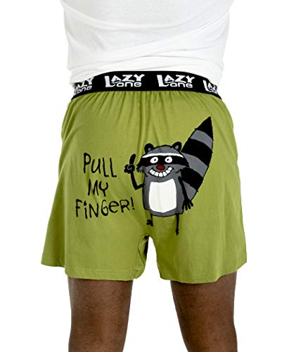 Pull My Finger Soft Comical Boxers for Men by LazyOne | Funny Mens Boxers - Medium Large Pull