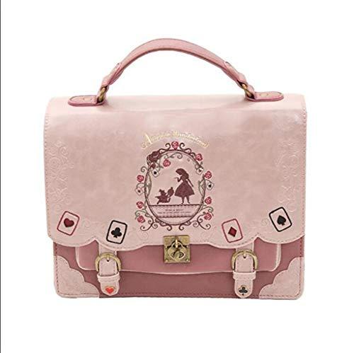 HFF00TLH Bags Women,Girl College Wind Shoulder Bag, Alice Poker Gothic Dark Lolita Tote Backpack Shoulder Bag Lolita Crossbody Bag,Pink