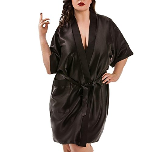 Makaor Women Satin Dressing Gown Plus Size Lingerie Babydoll Cardigan Kimono Robe with Belt (Black, Size:3XL)]()