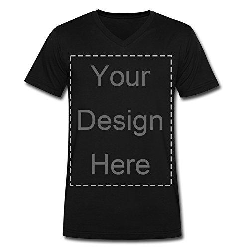 Cheap Design Personalized Tee Custom Men's Black V Neck Short Sleeve T-shirt
