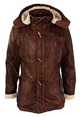 Men's Classic Fit Detachable Faux Fur Hooded Duffle Leather Coat