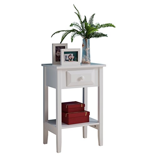 Pilaster Designs - White Finish Wood Side Accent Night Stand Table by Pilaster Designs