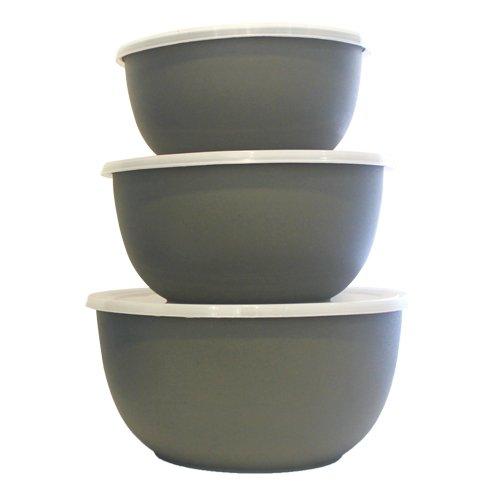 Mega Cocina MCSSMICRBWLGGB 3 Piece Microwavable 18/8 Stainless Steel Bowl Set, 25 oz/40 oz/60 oz, Gray