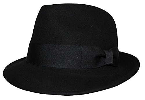 Stingy Brim Fedora Trilby (Differenttouch Men's 100% Wool Felt Soft & Crushable Stingy Brim Trilby Fedora Hats (S/M, Black))