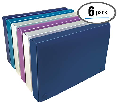 5 x 8 Inch Index Card Case by Better Office Products, 6 Pack, Semi-Rigid Plastic, with Clear Index Dividers, Assorted Colors Will Vary