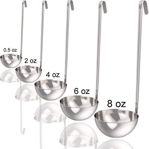 Soup Ladle and Ladle Spoon Set of 5 - Includes 0.5 oz, 2oz, 4oz, 6oz and 8oz ladles and Spoons, Made from Stainless Steel, Small Ladled and Big Spoon Sizes.