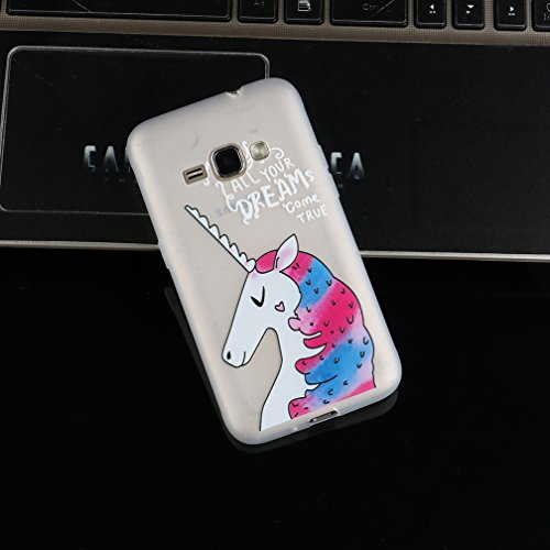 Funda Samsung Galaxy J1 2016 SM-J120F,XiaoXiMi Carcasa de Silicona TPU Suave y Esmerilada Funda Ligero Delgado Carcasa Anti Choque Durable Caja de Diseño Creativo - Flores de Datura Unicornio