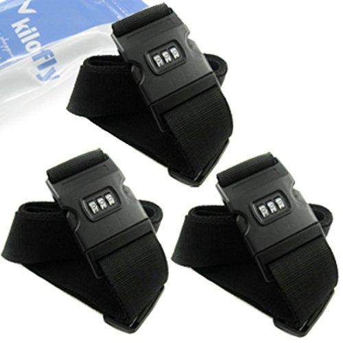 kilofly 3 Dial Combination Lock Luggage Strap [Set of 3] ()