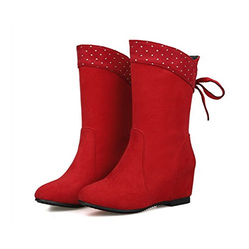 Allhqfashion Women's Solid Kitten-Heels Round Closed Toe Fabric Surface Pull-on Boots Red 2FMqV4