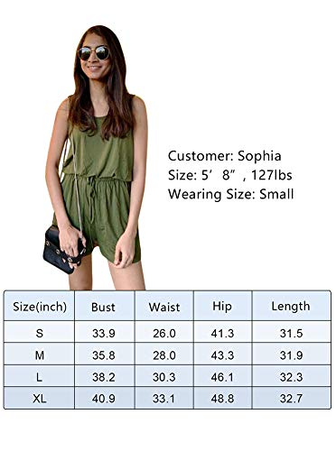 REORIA Womens Casual Summer One Piece Sleeveless Tank Top Playsuits Short Jumpsuit Beach Rompers Army Green Large