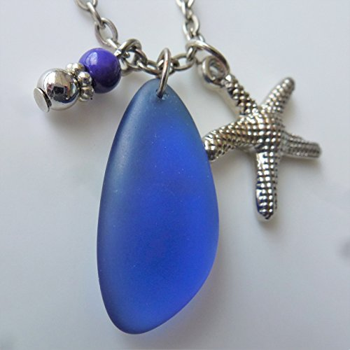 Blue cobalt sea glass ocean necklace for girls and women on a 24 silver color chain with nautical starfish delicate elegant young beach prime handmad…