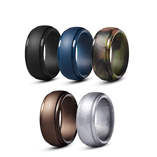 Silicone Wedding Rings For Men, Pack Of 5 Rubber Wedding Bands In Black, Copper, Camo, Navy Blue And Silver All Made Of Non-Toxic, Skin Safe, Soft Medical Grade Silicone. (12.5-13 (22.2mm))