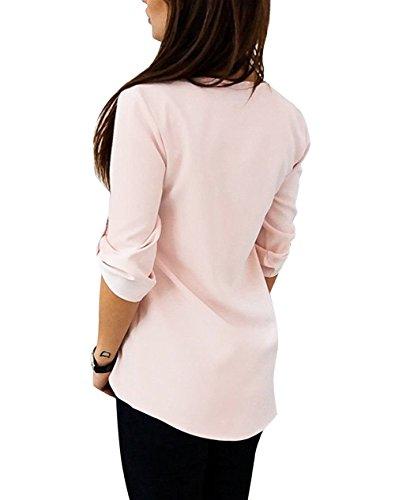 V Casual Chic Zipp Top Manche de Chemise Soie Classique Moussline Fluide Rose Col Longue Blouse Tunique Haut Femme Aswinfon AqBXxw0p