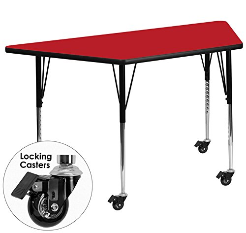 Height Laminate (Flash Furniture Mobile 25.5''W x 46.25''L Trapezoid Red HP Laminate Activity Table - Standard Height Adjustable Legs)