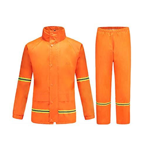 Orange X-grand DQMSB Imperméable imperméable Costume de Pluie imperméable Vent de Pluie et de Pluie extérieure Split imperméable imperméable pour Le Camping et la randonnée (Marine Orange)
