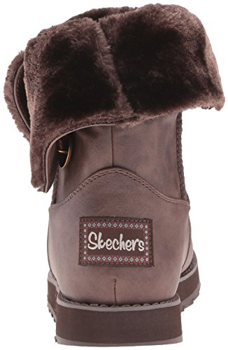 Femme Leatherette Marron Skechers Botte Keepsakes D'hiver Brun Brn Mid Button 50gYq