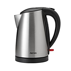 Aroma Housewares AWK-1400SB 7 Cup Stainless Steel Electric Kettle, 1.7 L, Silver