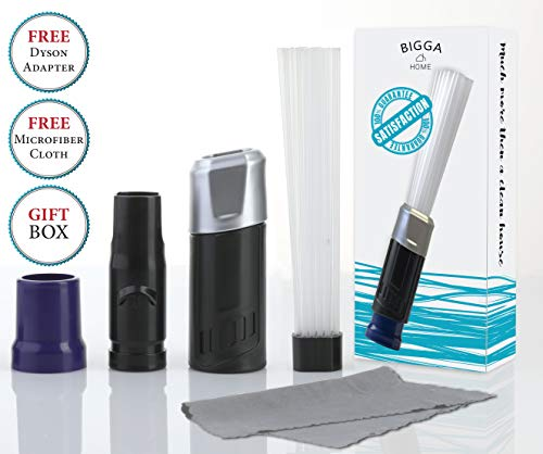 Bigga Home Vacuum Attachment Tiny Tubes, Dusty Brush, Flexible Dust Cleaning Sweeper. Master Duster Cleaning Tool. Strong Suction for Cars, Drawers, Jewelry, Pets, Tools, Air Vents. Universal.