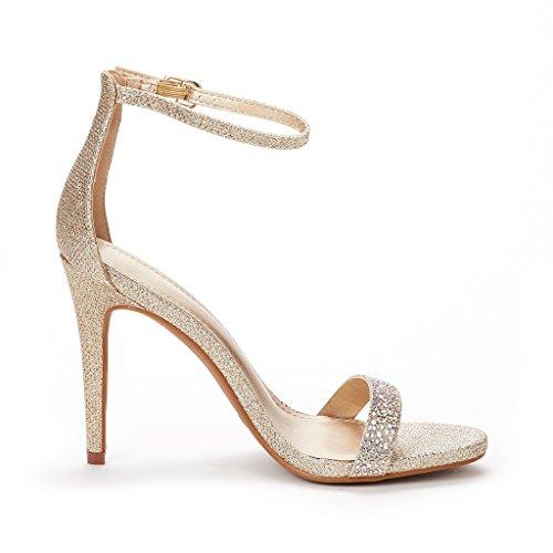 Dream Pairs Mujeres Karrie High Stiletto Pump Sandalias De Tacón Shine-gold