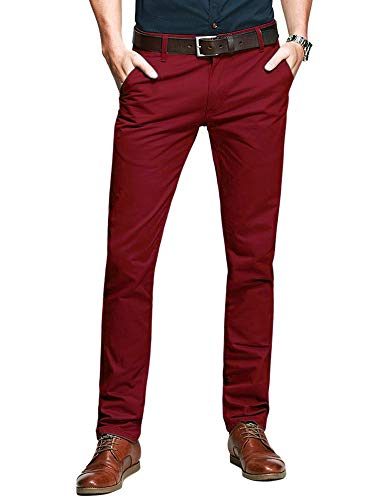 OCHENTA Men's Casual Tapered Flat-Front Dress Pants #5080 Red 36
