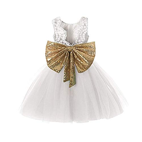 (Special Occasion Dresses 7-16 White Elegant Bridesmaid Dress Size 9 Wedding Party Summer Holiday Pageant Girl Dress Formal Ball Gowns Sleeveless Knee Length 9-10 Years Old Flower (White)