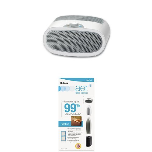Holmes HEPA-Type Desktop Air Purifier with 3 Speeds and Quiet Operation plus Aer1 Total Air Filter