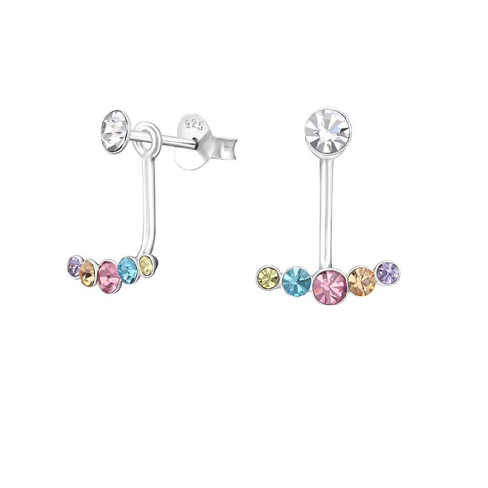 Geometric Ear Jackets Double Earrings 925 Sterling Silver Nb Of Crystal Stones 12