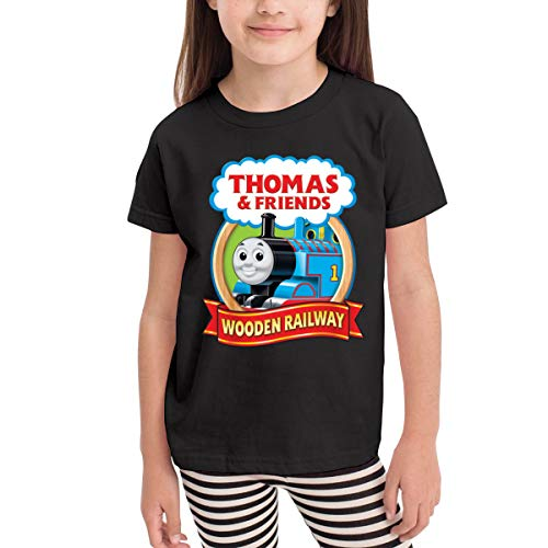 (Badalink Unisex Baby Thomas The Tank Engine & Friends Ultra Soft T-Shirt for Boy's&Girl's Short Sleeve Black)
