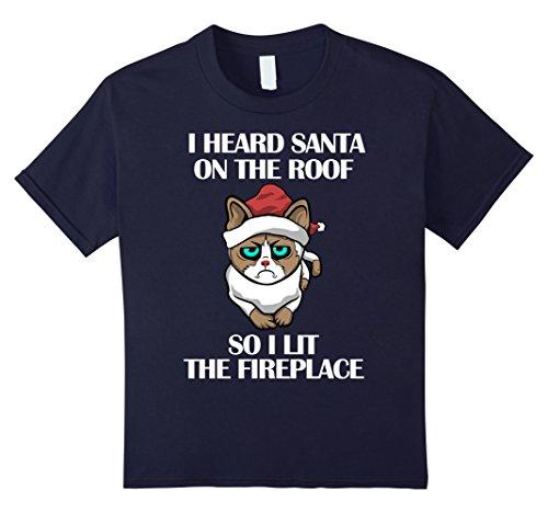 Grumpy Cat Costume Amazon (Kids I heard Santa On the Roof Funny Holiday Cat T-Shirts 6 Navy)