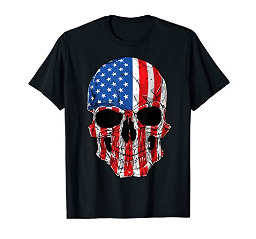 Skull American Flag 4th of July T shirt Men Women USA Gifts]()