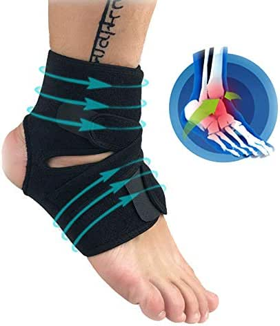 Novania Ankle Support Sleeve, Compression Brace for Arthritis, Pain Relief, Sprains, Sports Injuries and Recovery, Breathable Neoprene