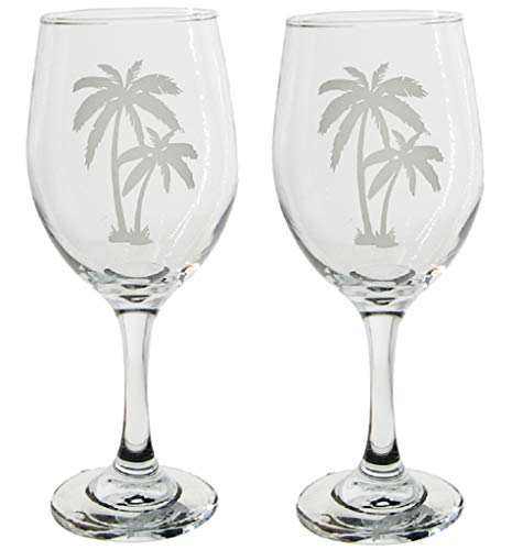 Chesapeake Bay 2 Palm Tree Etched Wine Glasses 68685 12 Ounces