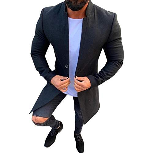GREFER-Mens Trench Coats Winter Sale Single-Button Wool Blend Pea Coat Slim Fit Long Jacket Outwear Black
