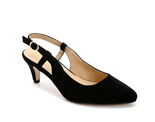 ComeShun Womens Shoes Black Buckle Kitten Adjustable Slingback Heels Splicing Suede Pumps Size 8 by ComeShun