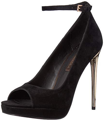 BCBGMAXAZRIA Women's Becky Peep Toe Pump Shoe, black suede, 7 M US