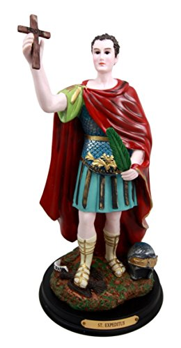 Ebros Gift Saint Expedite Roman Centurion Christian Martyr Decorative Figurine with Brass Plate Engraved Base 12 Tall