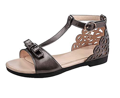 Velcro Toe Pu Women metallo Mini Sandali Heel Open in con Aalardom Solid rivestimento wqIUdXw0