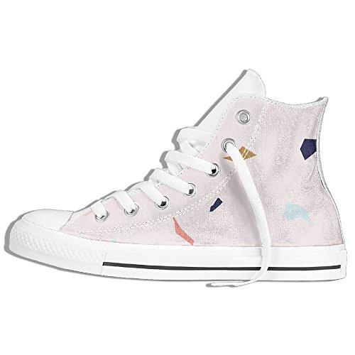 Colorido Polígono High Top Classic Canvas Zapatos Moda Sneaker Blanco