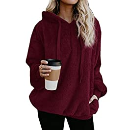 ASSKDAN Women's Long Sleeve Teddy Fleece Hoodie Hooded Sweatshirt Drawstring Pullover Fuzzy Velvet Sweater Outwear