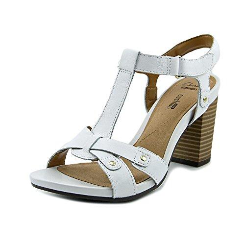 Clarks Womens Banoy Valtina Läder Öppen Tå Tillfällig Fotled Rem Sandaler Vit Läder