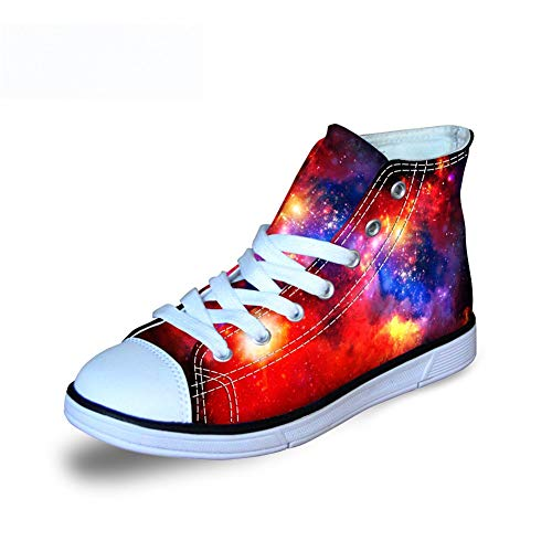 Fashion Galaxy Print High Top Lace Up Comfy Lightweight Canvas Shoes for Kids Girls Boys Walking