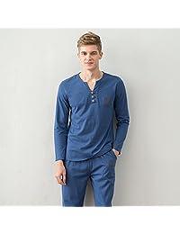 DMMSS Men's thin Cotton v-neck Long Sleeve Pajama Set , 2 , xl
