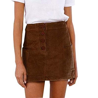 Kingspinner Women's Corduroy Skirt High Waist Pocket Party Cocktail Skirt Button Pencil Skirt