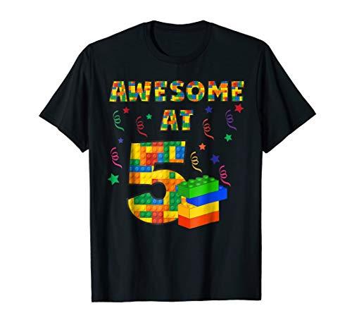 Birthday Shirt For Kids 5 Building Blocks Bricks