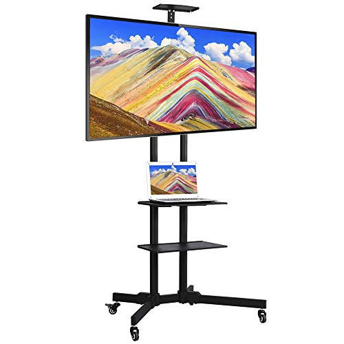 Yaheetech 32 to 65 in Universal Flat Screen TV Stand Carts Mobile TV Console Stand with Mount Plasma LCD LED Flat Screen Panel w/Wheels (Best Quality Flat Screen Tv Brand)