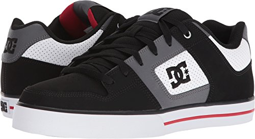 DC Men's Pure Skate Shoe, White/Black/Red, 13 D US by DC