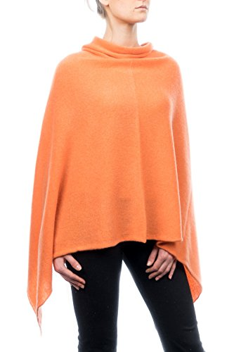 DALLE PIANE CASHMERE - Poncho 100% Cashmere - Made in Italy, Color: Orange, One Size
