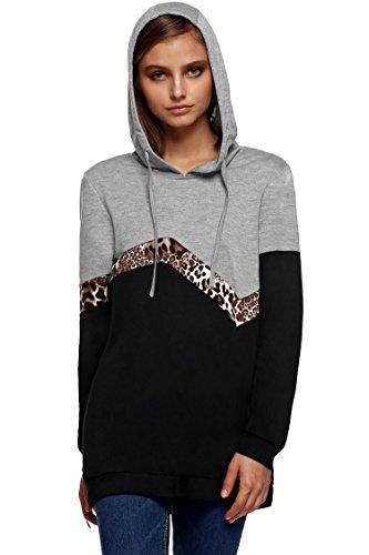 FINEJO Ladies Autumn Winter Jacket Hooded Sweater Coat Hooded Sweats (Large, Gray 3) by Finejo