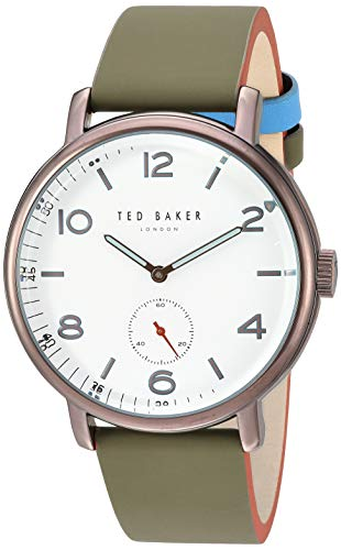 Ted Baker Men's Harry Quartz Watch with Leather Strap, Green, 19.7 (Model: TE50372001